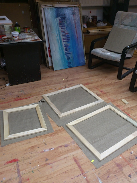 oil abstract paintings on canvas in the contemporary artist studio