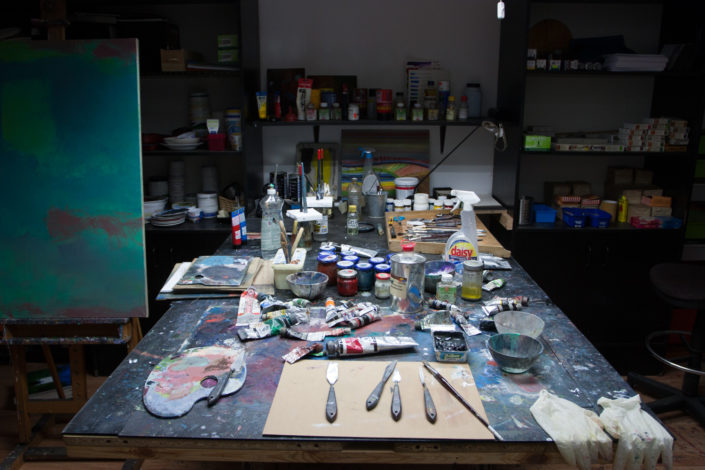 Painting tools, brushes, pallete knifes for creative process
