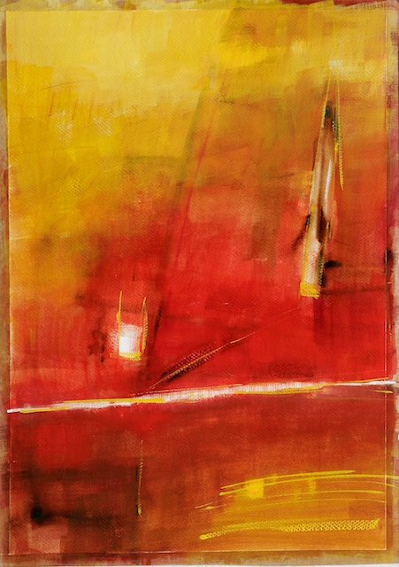 watercolor abstract painting with red colors
