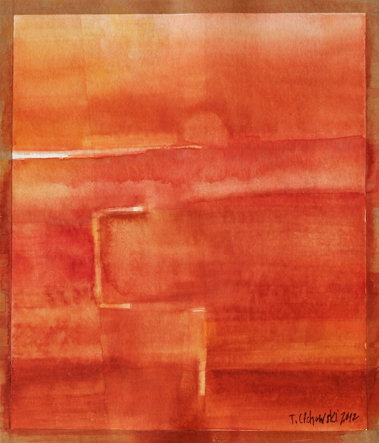 watercolor abstract paintings with red colors