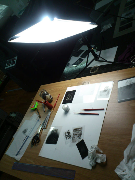 Contemporary Artist work table with light and tools